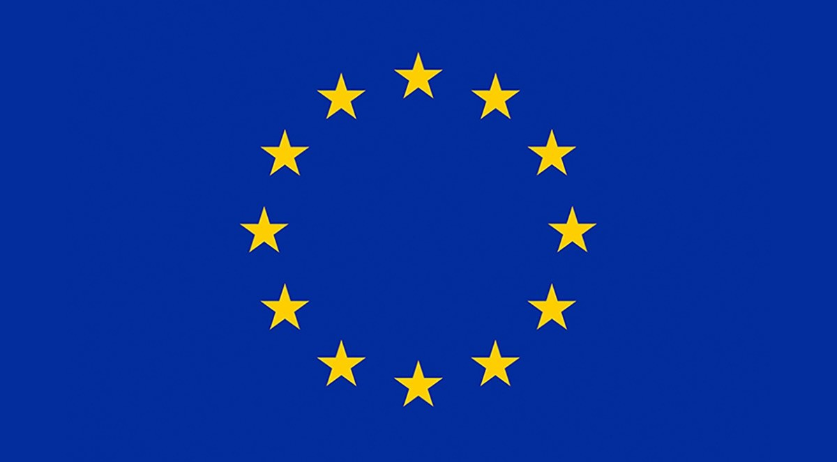 EU flag. GDPR regulation is from the EU
