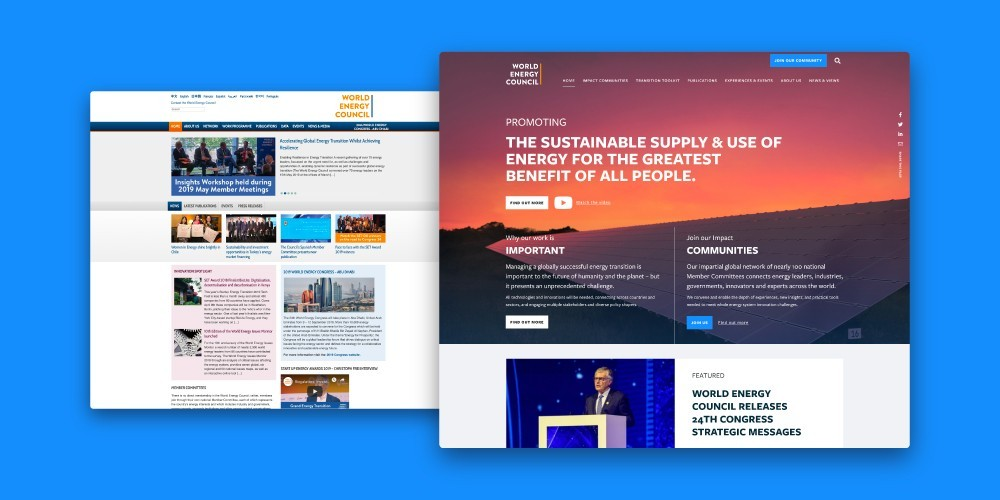 World Energy Council old vrs new website